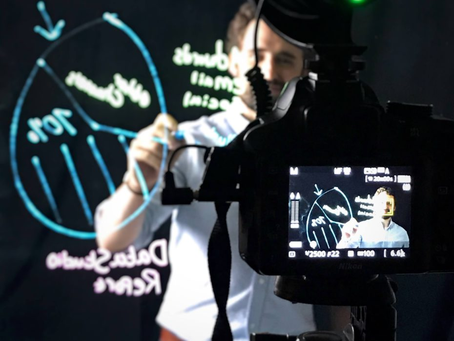 Filming a lightboard video