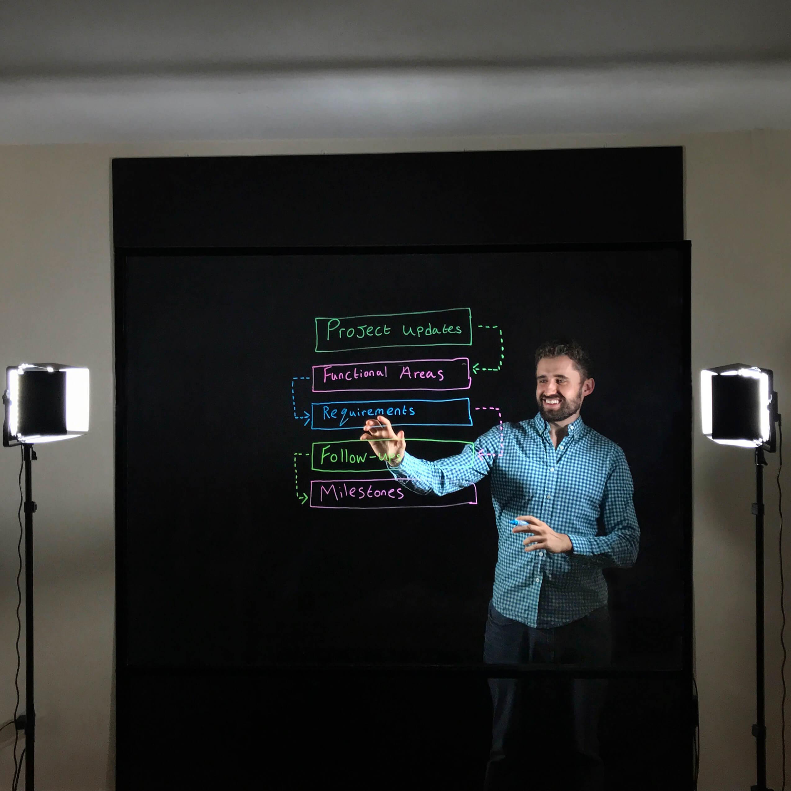 Camera with black backdrop